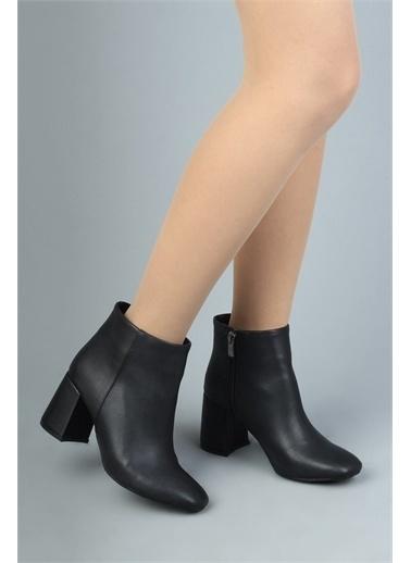 Modabuymus Modabuymus  Küt Burunlu Kalın Topuk Kadın Bot - Adrina Siyah